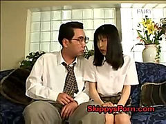 Japanese schoolgirl gets her pussy licked by an older man