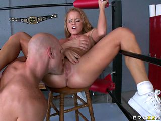 hot blonde getting fucked hard on the boxing ring