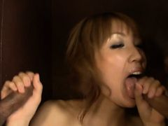 Asian chick gets on knees and enjoys large schlong in mouth