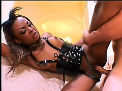 Yummy black hooker gets huge white penis in her soaked booty