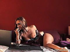 Dirty talking Cynthia teases the camera with a naughty solo show