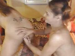 2 T-Girl Disrobe and menacing Jerk Off Hard on Livecam