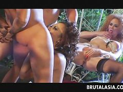 Raunchy Asian cutie porked in a 4some