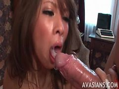Japanese housekeeper gets all holes fucked hard