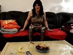 Smoking and making dirty talk in leopard outfit