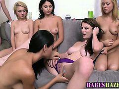 Hazed lesbian teens lick