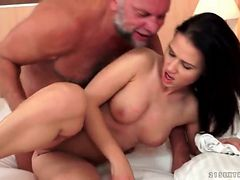 Shaved young twat banged by grandpa cock