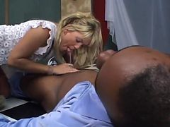 Cock Loving Blond Gives Interracial BJ