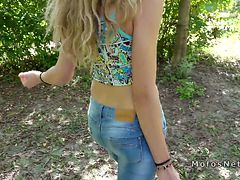 Amateur blonde doggy style outdoors