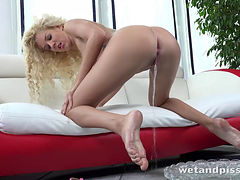 Piss Loving Blonde Girl Delivers An Epic Pee Performance