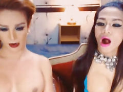 Hot Oriental Transsexual Pair Plays Rod and Booty