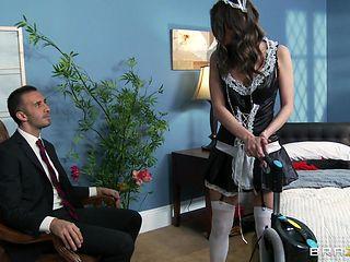 hot brunette wet pussy deep fucked by her boss