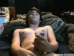 Amazing twinks Trace has a camera in hand while he and Lucas