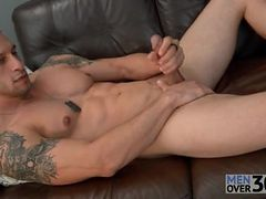 Muscular solo guy is smooth and sexy as he strokes