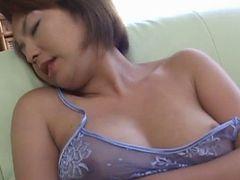 Rio Kurusu Puts Vibrator On Her Hairy Crack Under Lace Lingerie