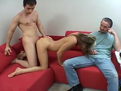 Naughty Blond Housewife Gets Cuckolded