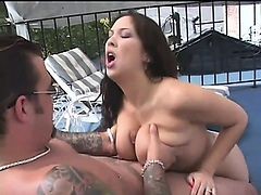 Beautiful busty Reina Leone gets her asshole fucked poolside